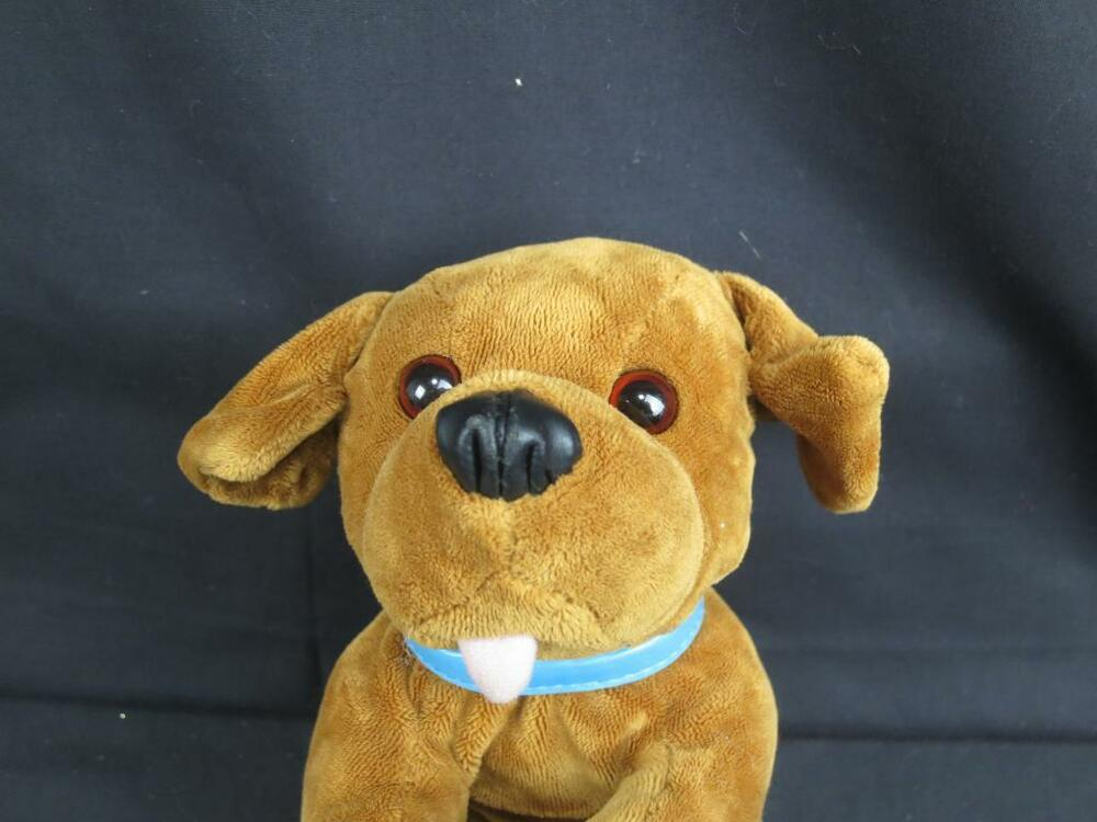 plush animal alley stuffed brown puppy dog lovey pup blue collar soft toy 11 ebay. Black Bedroom Furniture Sets. Home Design Ideas