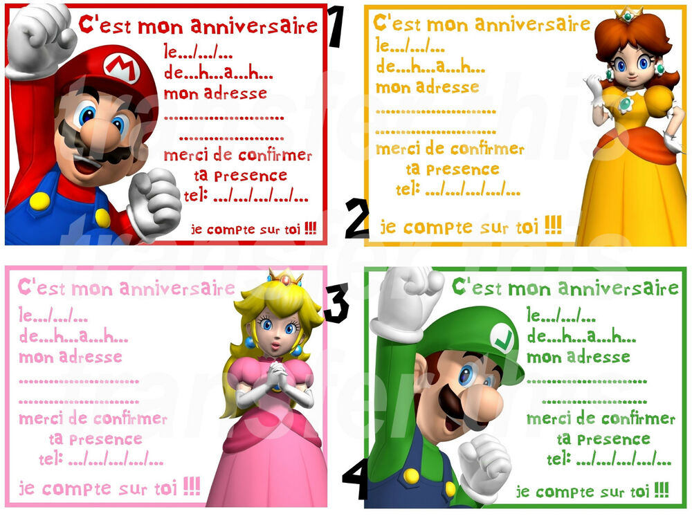 carte invitation anniversaire mario bros ebay. Black Bedroom Furniture Sets. Home Design Ideas