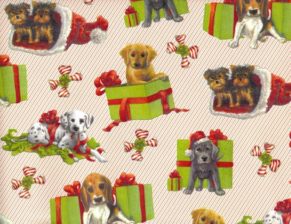 Puppy Dog Presents Christmas Gift Wrapping Paper Large 26