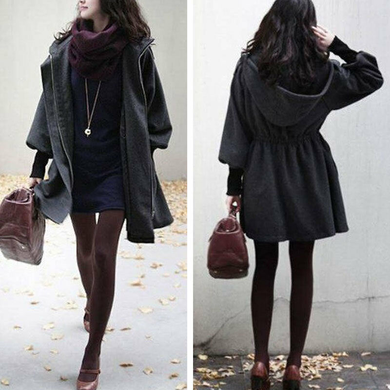 damen mantel jacke parka bergangsjacke mit kapuze langarm dunkelgrau m1931 ebay. Black Bedroom Furniture Sets. Home Design Ideas