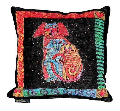 Decorative Tapestry Throw Pillows : Laurel Burch Embracing Papillion Dogs Decorative Throw Tapestry Pillow New eBay