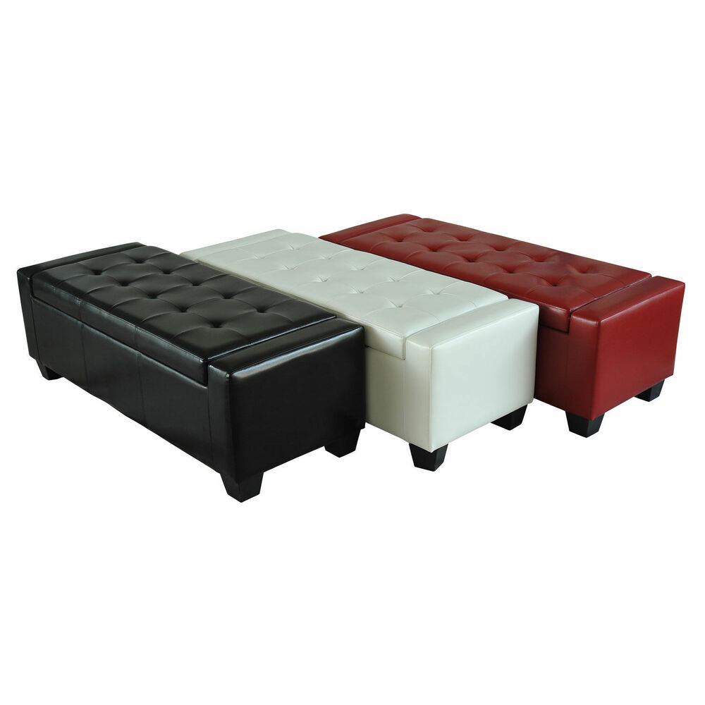 Home modern ottoman storage bench seat footrest sofa shoe faux leather ebay Bench sofa
