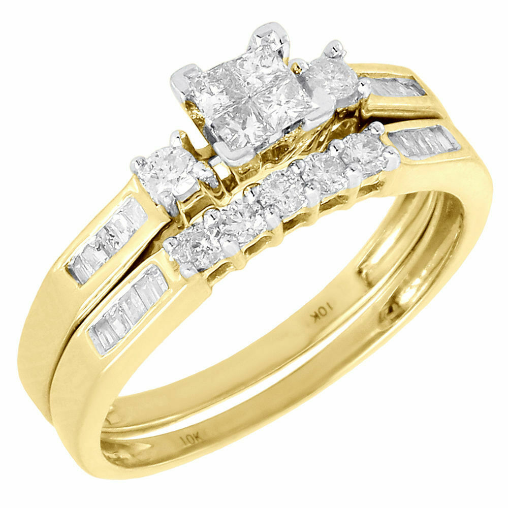 Ladies 10k yellow gold diamond engagement ring princess for Wedding ring engagement ring set