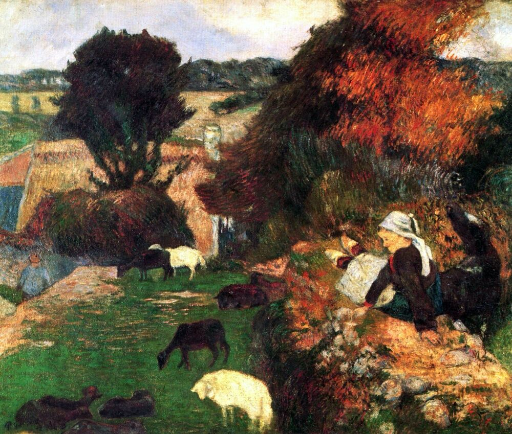 breton shepherds by paul gauguin giclee fine art print reproduction on canvas ebay. Black Bedroom Furniture Sets. Home Design Ideas