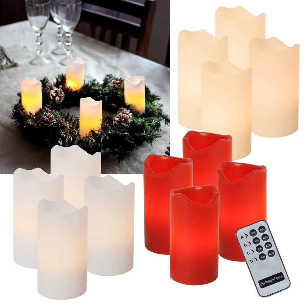 4er set led kerzen flammenlos advents kerze adventskerzen f r zb adventskranz ebay. Black Bedroom Furniture Sets. Home Design Ideas