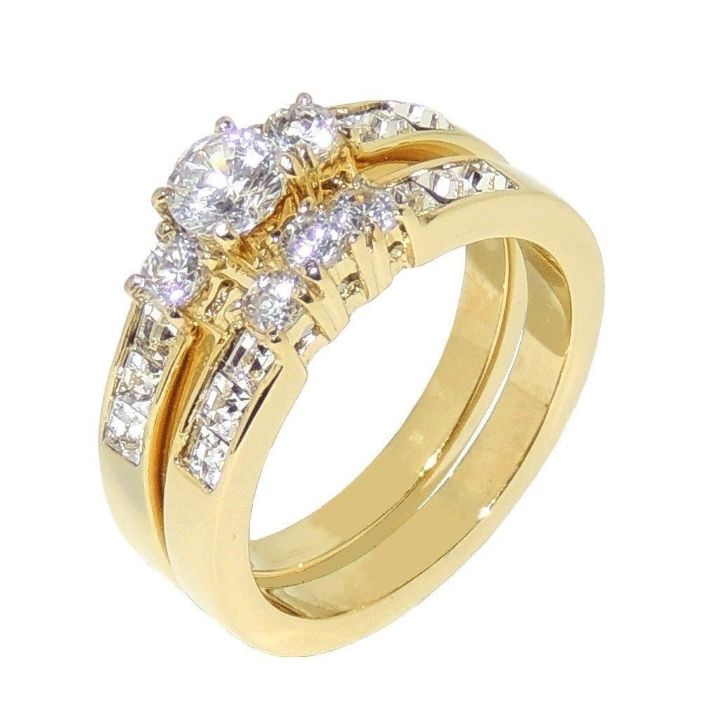 135ct Gold IP Stainless Steel WOMENS WEDDING ENGAGEMENT RING SET SIZE 5 10