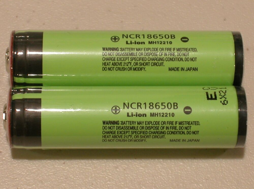 2 Panasonic Ncr18650b Li Ion Battery 3400mah 3 7v 18650