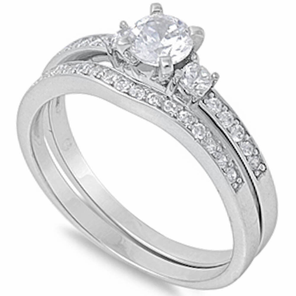 ROUND CZ ENGAGEMENT SET 925 Sterling Silver Ring SIZES 5 10