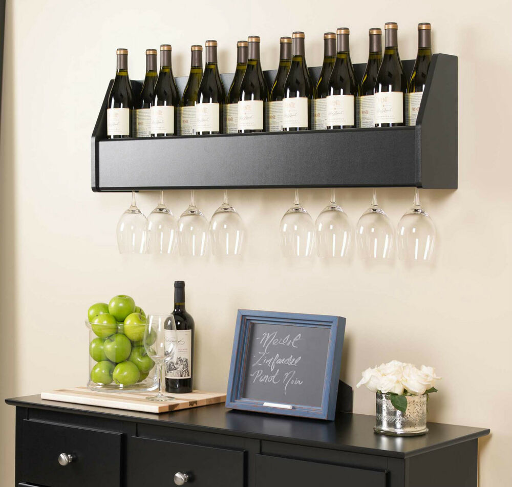 Floating Wall Mount Wine Rack W Wine Glass Storage Holder