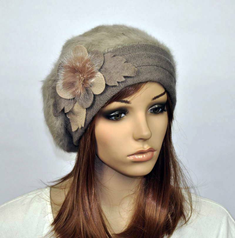 m97 beautiful flower rabbit fur wool s winter hat