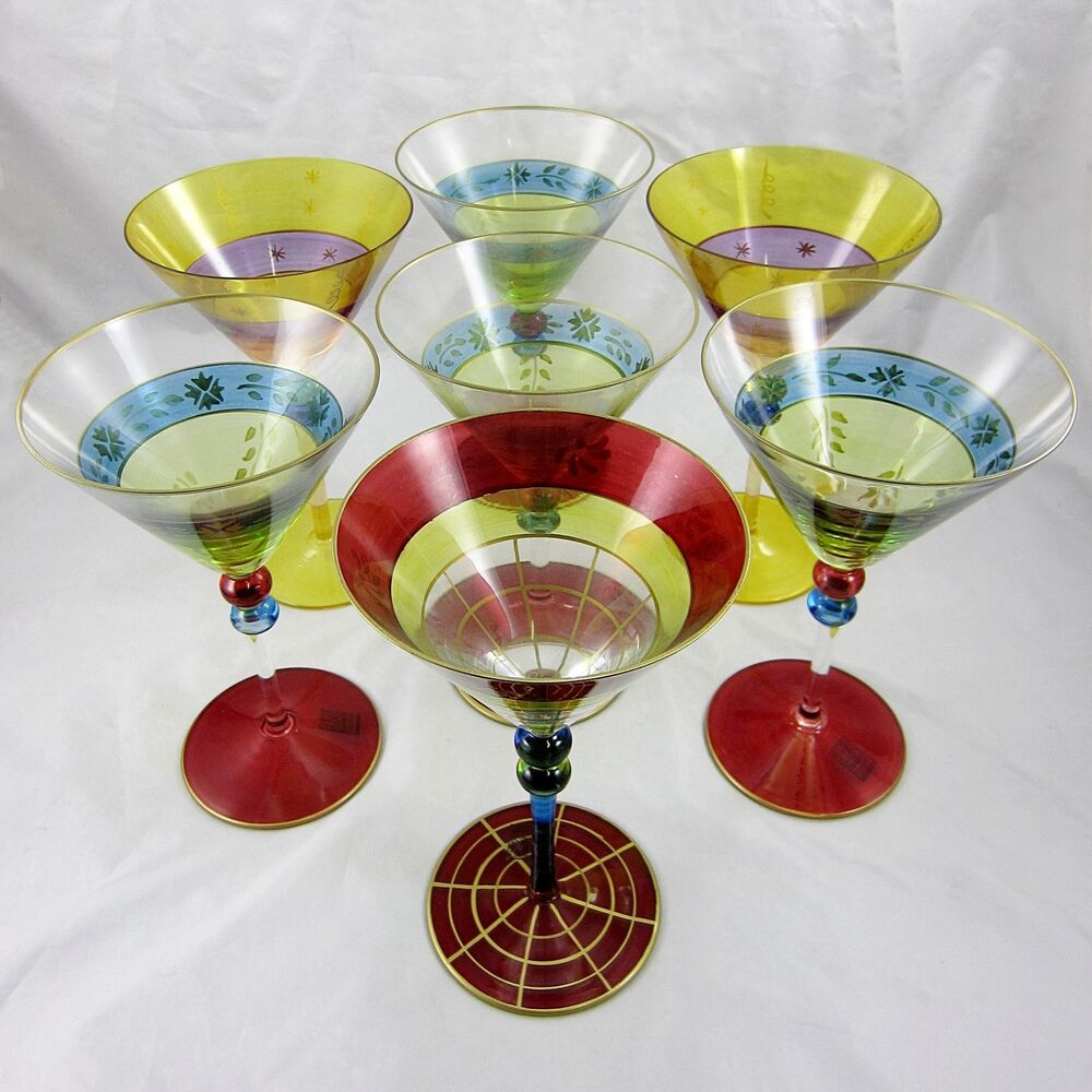 Hand painted martini glasses romanian glass roscher co for Hand painted glassware