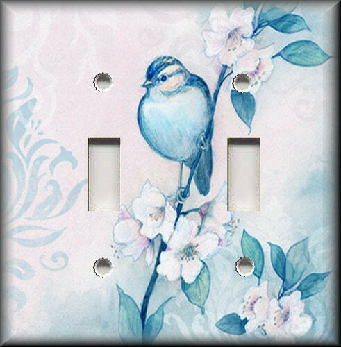 Light Switch Plate Cover Song Bird With Flowers Shabby Chic Home Decor Blue Ebay