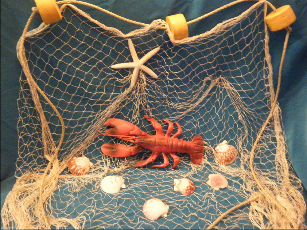 6 39 x 8 39 fishing net sea shells starfish home decor lobster for Net decoration ideas