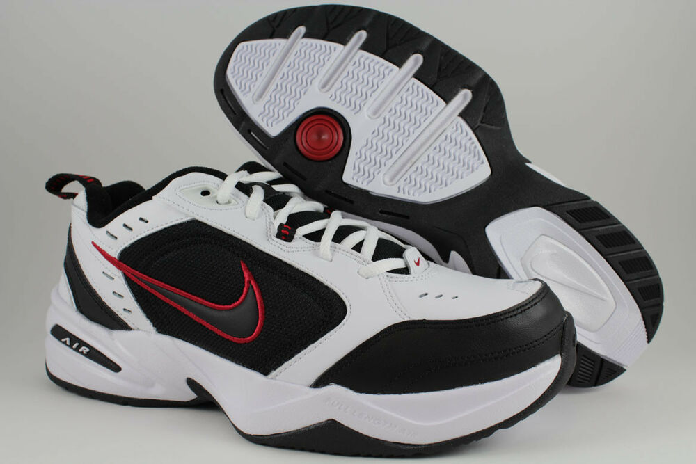 NIKE AIR MONARCH IV 4 EXTRA WIDE 4E EEEE WHITE/BLACK/RED ...