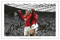 RYAN GIGGS + DAVID BECKHAM MANCHESTER UNITED SIGNED PHOTO PRINT AUTOGRAPH SOCCER
