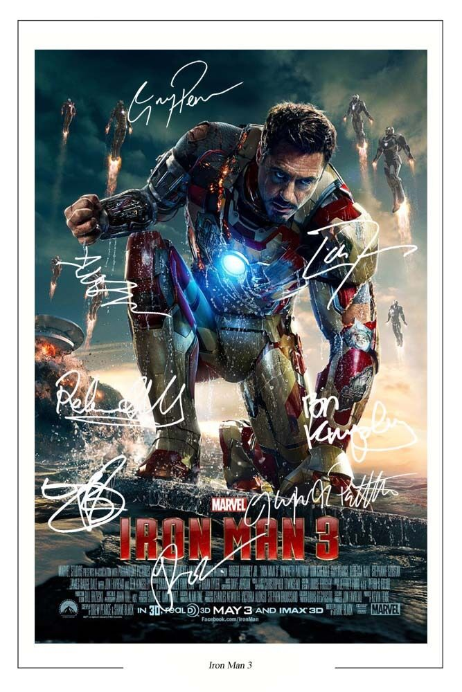 IRON MAN 3 CAST X 8 SIGNED PHOTO PRINT AUTOGRAPH POSTER ...