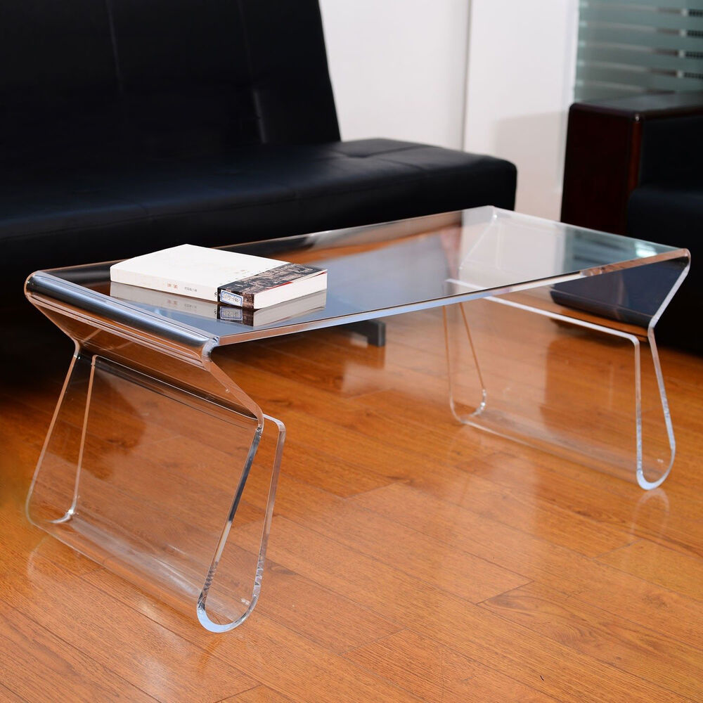 Modern clear acrylic end coffee table lucite carrying tray side portable ebay Clear coffee table