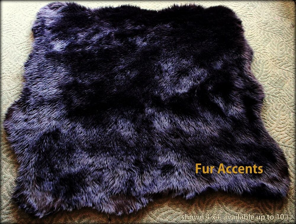 Fur Accents Shaggy Long Hair Sheepskin Area Rug Black Faux