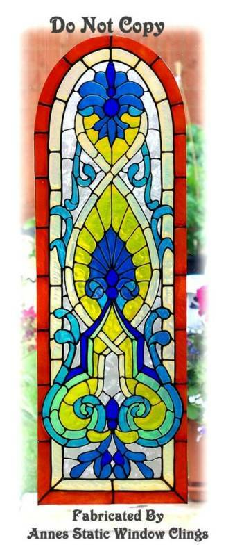 victorian style stained glass effect window cling decal ebay. Black Bedroom Furniture Sets. Home Design Ideas