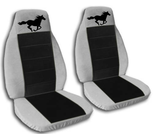 2 Silver And Black Running Horse Seat Covers 2010 Vw
