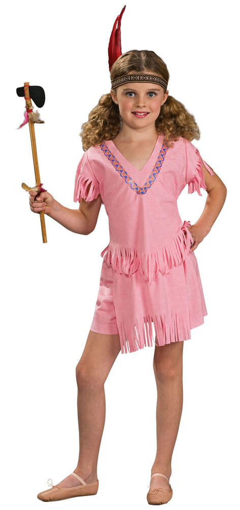 Indian Girl Native American Pocahontas Pink Fancy Dress -6413
