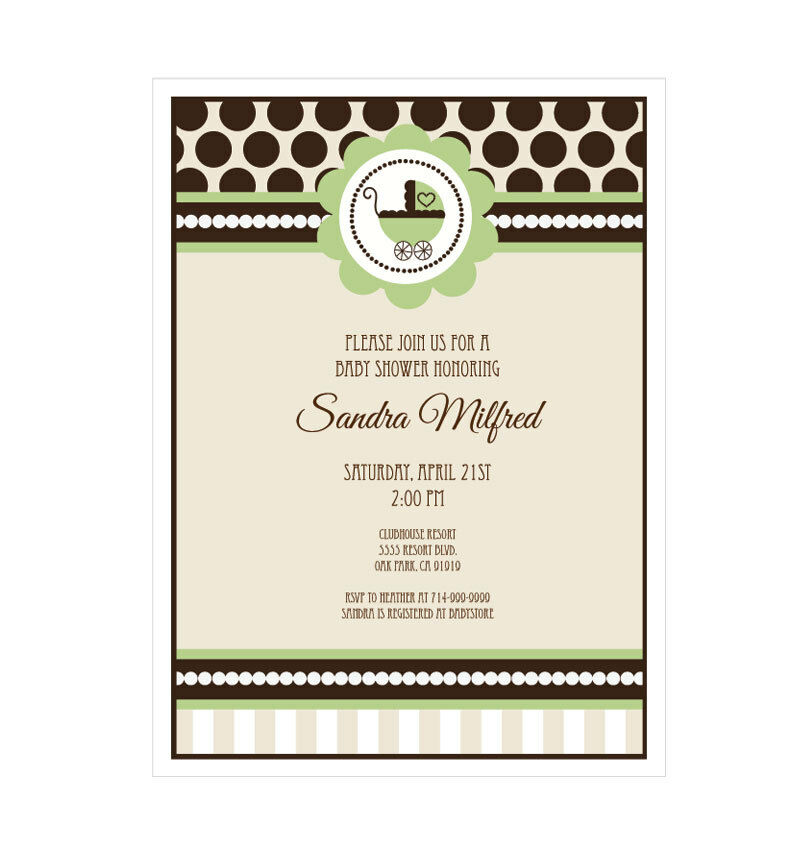 green gender neutral baby shower personalized shower invitations set