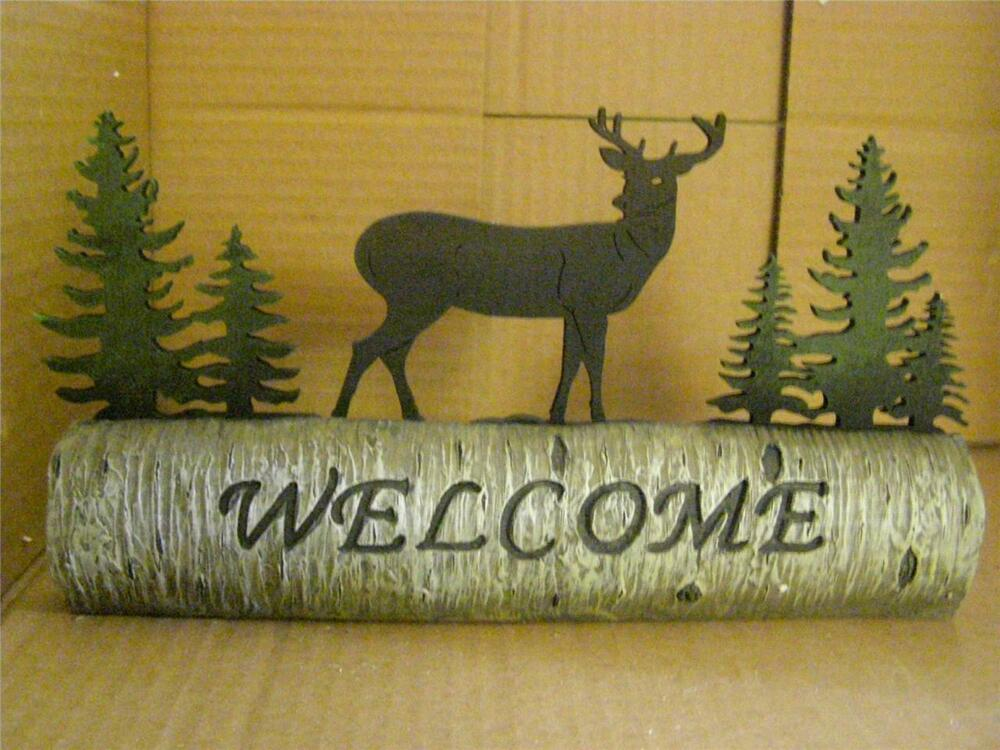 The Deer Trees Wood Resin Welcome Sign Ebay