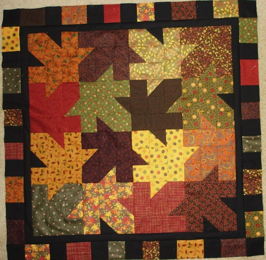 Falling Leaves Quilt Pattern For Fall Autumn Table Topper