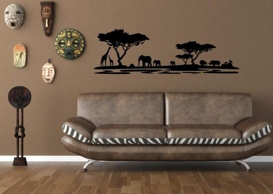 afrika wandtattoo afrika dekoration wandtattoos safari elefanten wand bild ebay. Black Bedroom Furniture Sets. Home Design Ideas