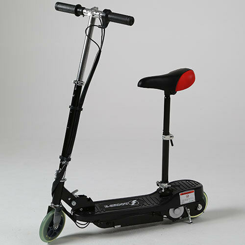 Black kids electric scooter eskooter sit stand adjustable for Stand on scooters with motor