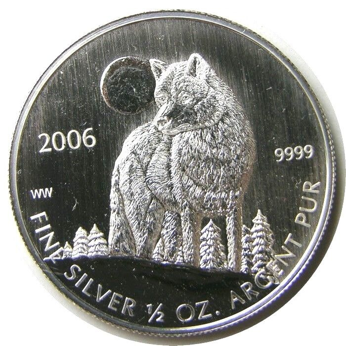Elf Canada 1 Dollar 2006 Silver 1 2 Ounce Timber Wolf Ebay