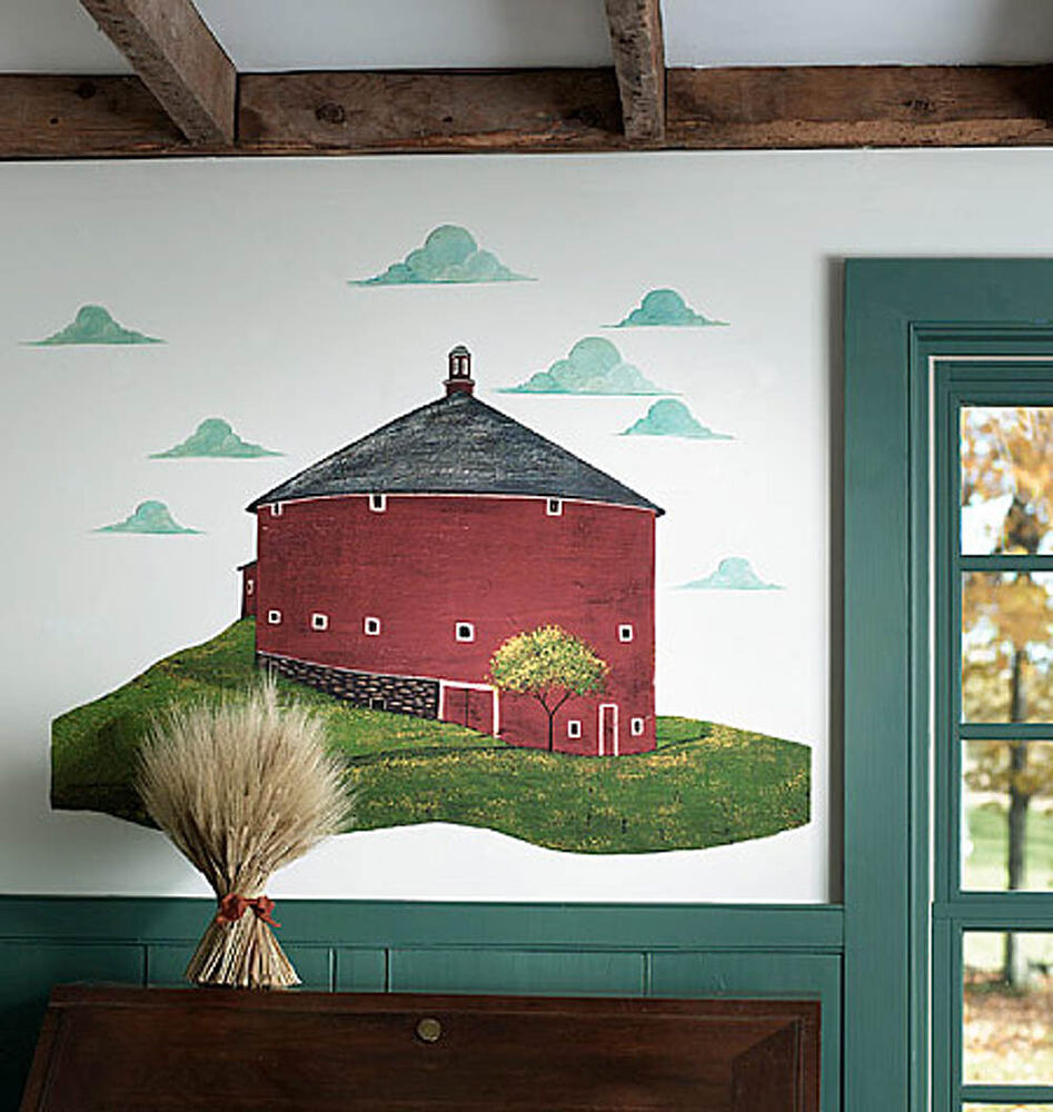 Farm country house warren kimble red round barn clouds for Barnyard wall mural