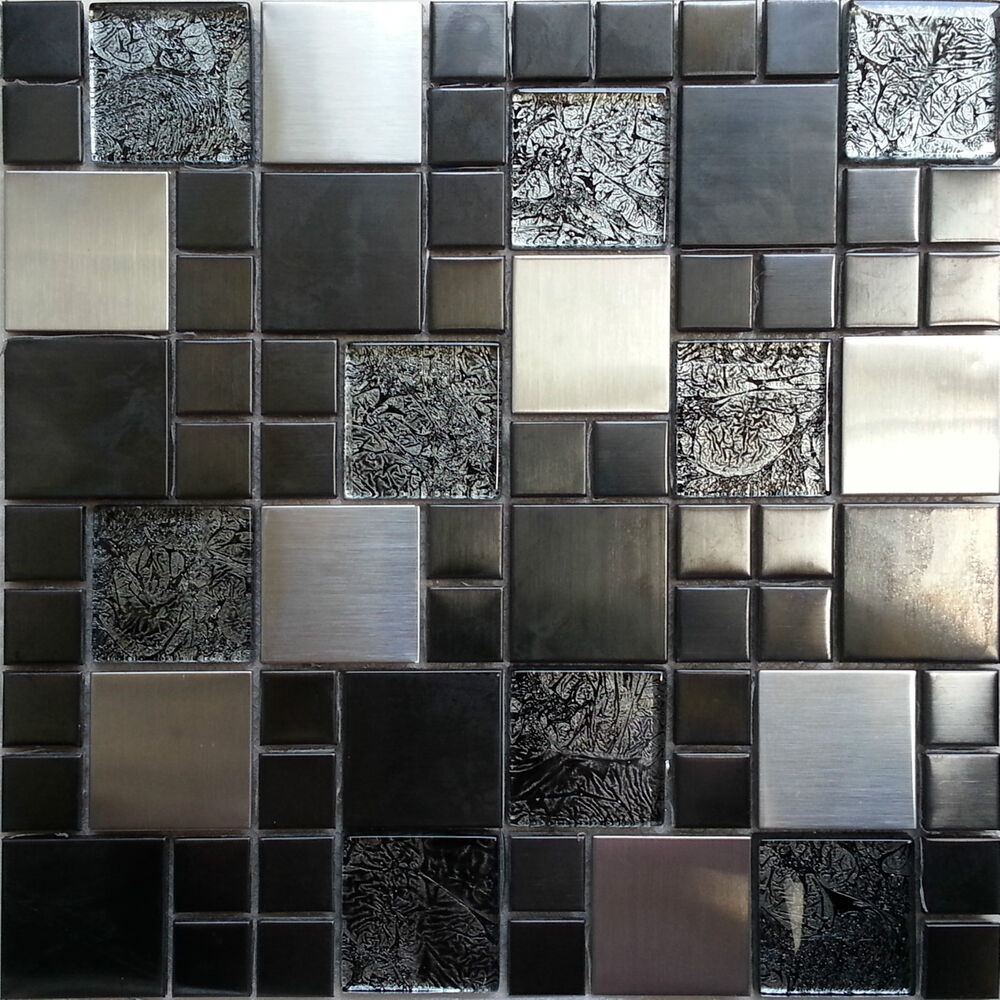 Metallic random mix glass mosaic wall tiles kitchen for Carrelage verre