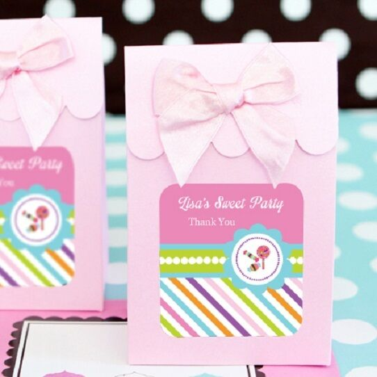 24 Sweet Shoppe Party Personalized Candy Boxes Bags