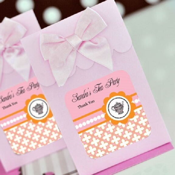 Personalized Party Favor Boxes Birthday : Tea party personalized candy boxes bags bridal shower