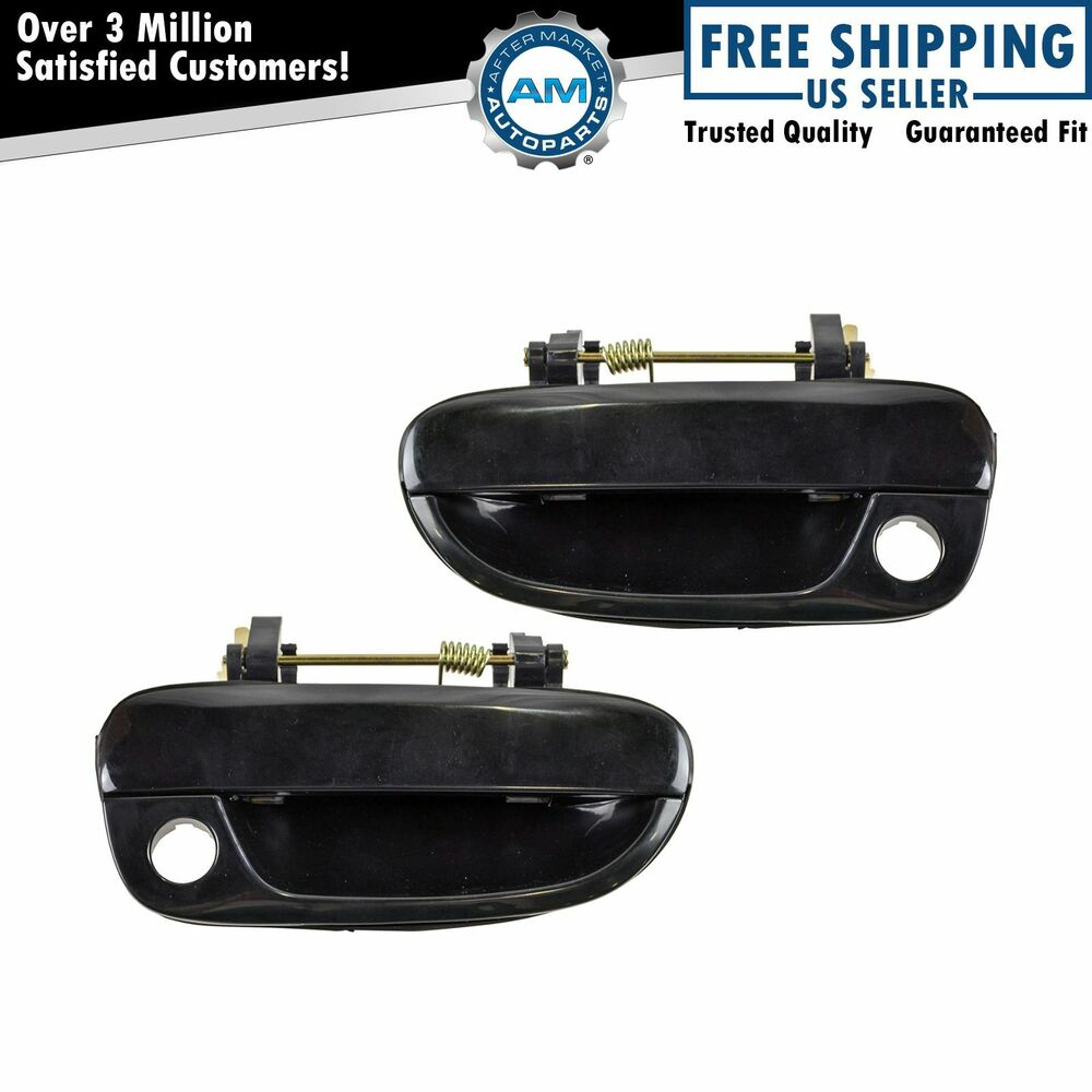 Black front outside exterior outer door handle pair set for 00 06 hyundai accent ebay Hyundai accent exterior door handle