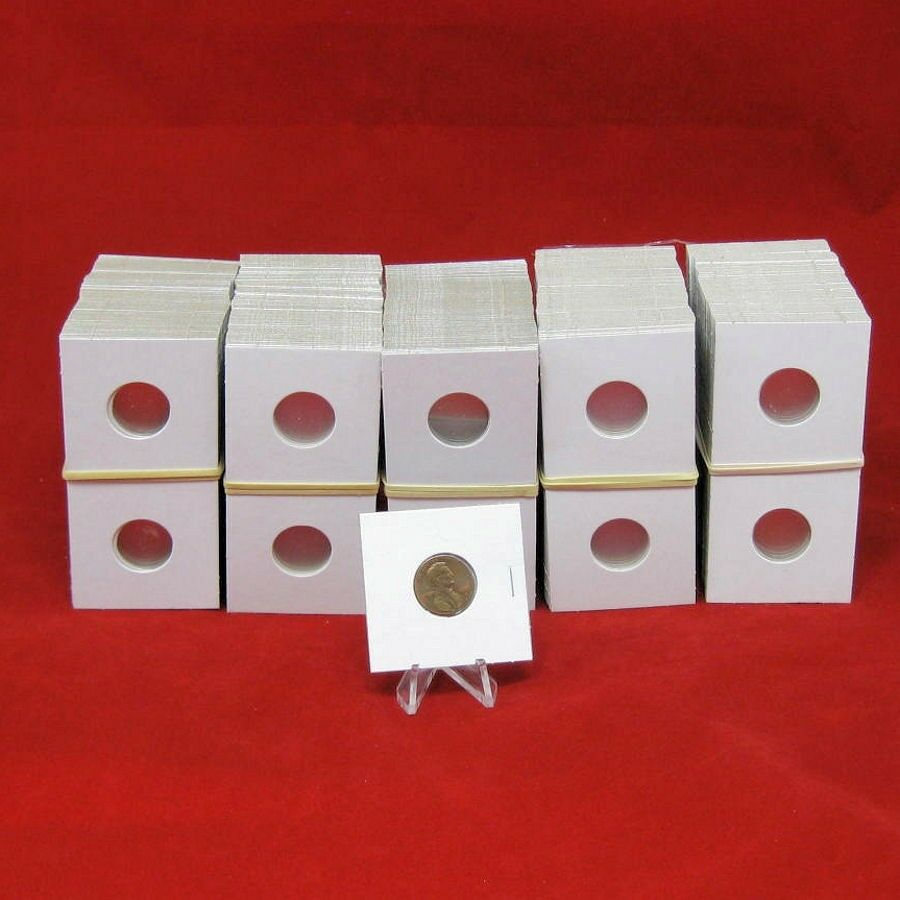 500 Cardboard 2x2 Coin Holder Mylar Flips for Cents 5 Storage Boxes