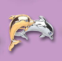 Beautiful White & Yellow Gold Plated Crystal Dolphin's Brooch (4038-3)