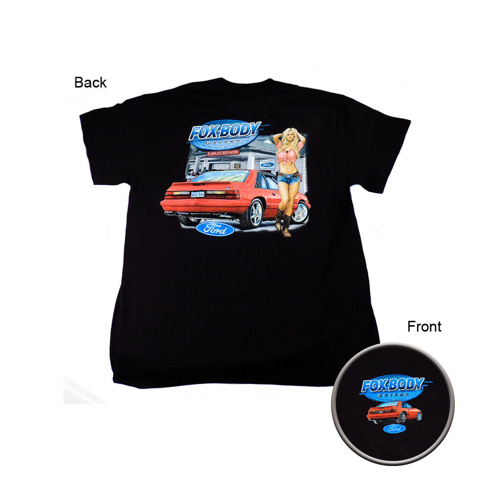 ford mustang fox body w pin up girl black t shirt x large ebay. Black Bedroom Furniture Sets. Home Design Ideas