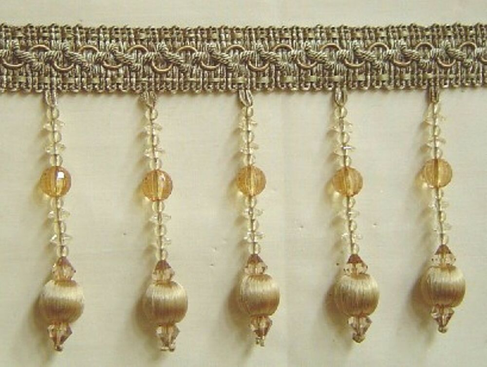 4 5 quot beaded tassel fringe trim gold and bronze w clear