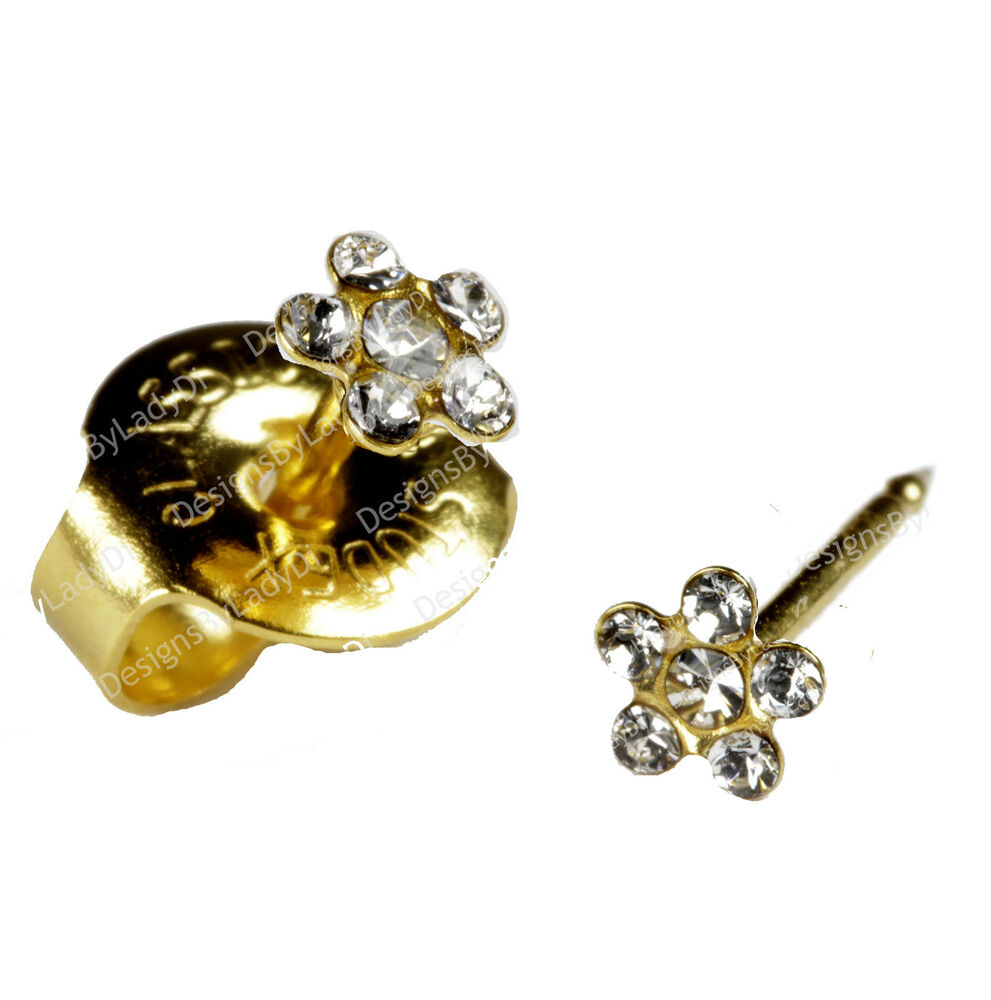 post baby studs gold clear ear piercing
