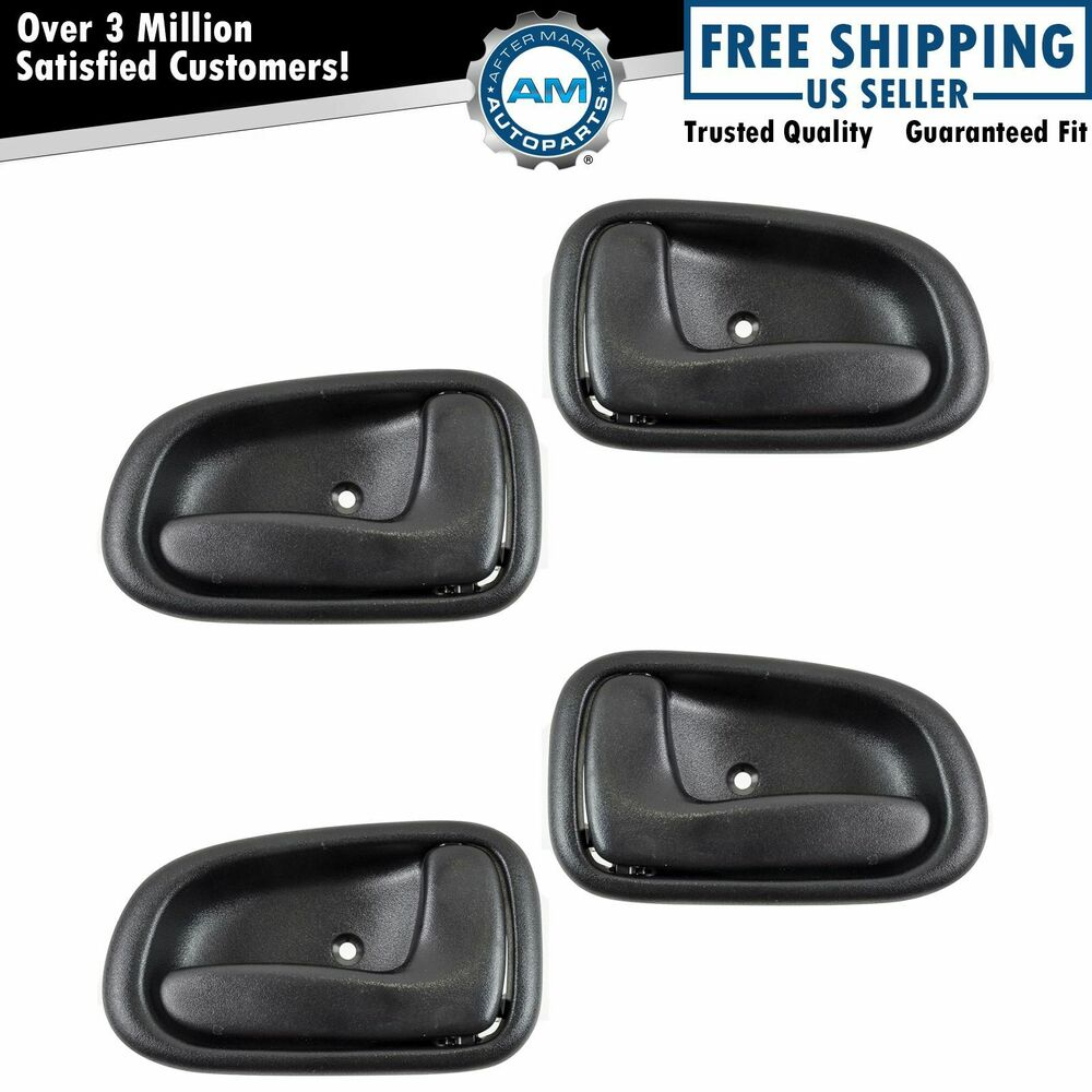 Interior inner inside door handle black set of 4 kit for Toyota corolla door handle interior