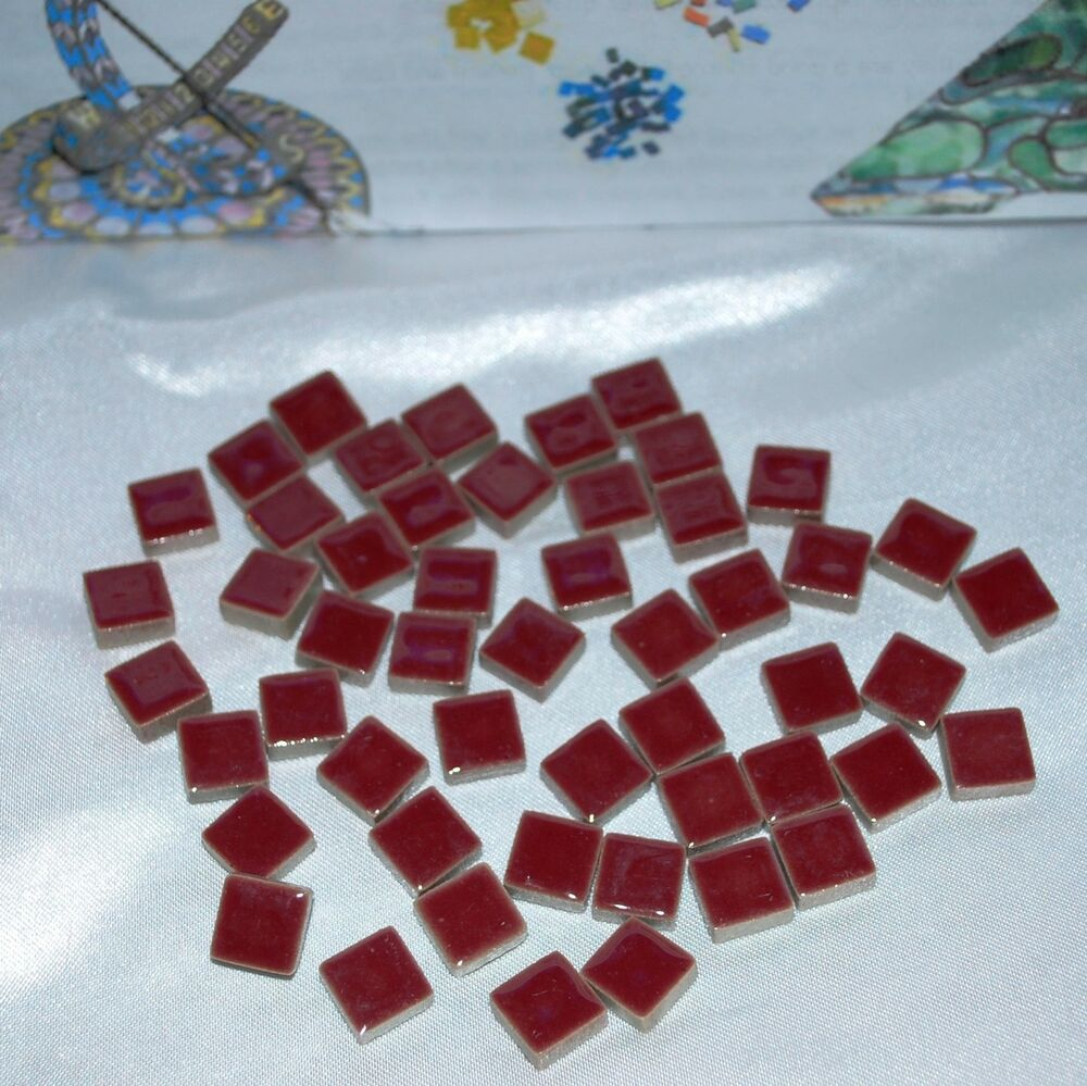 3 8 small glossy ceramic mosaic tiles 50 burgandy for Mosaic tiles for craft