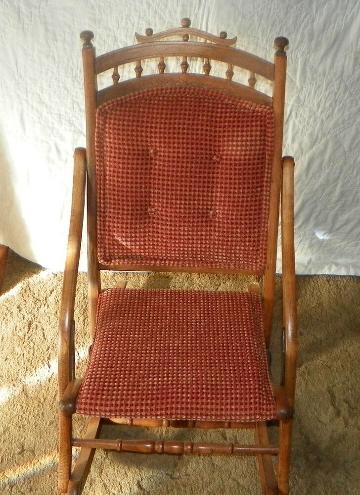 Cherry Carved Fold Up Rocker Folding Rocking Chair R140