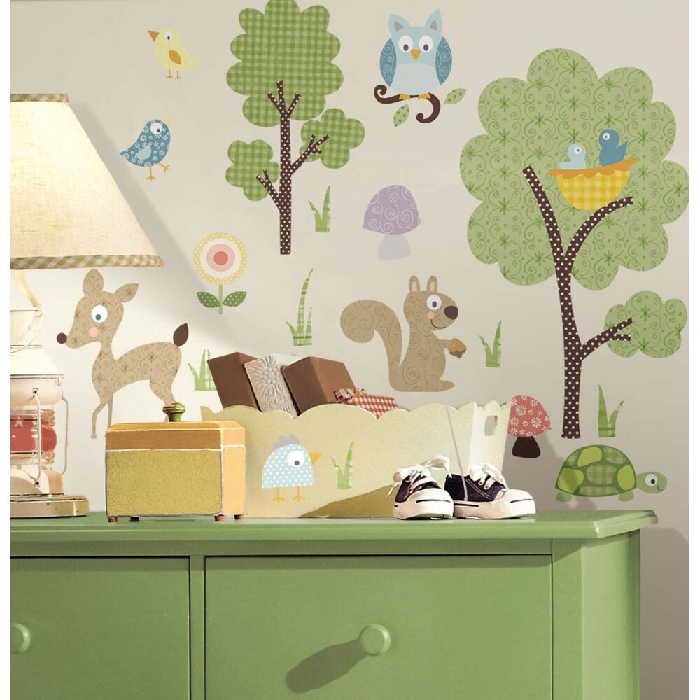 Woodland animals 89pc wall stickers kids nursery room for Bird and owl tree wall mural set