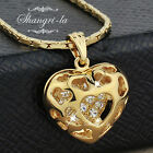 18K Yellow GOLD Plated Curved Hollow HEART NECKLACE with SWAROVSKI CRYSTAL L090