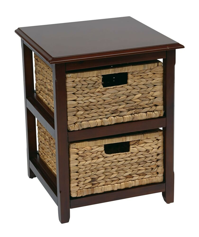 Pine Coffee Table With Baskets: Seabrook 2 Drawer Espresso Wood Storage Tower W/Natural