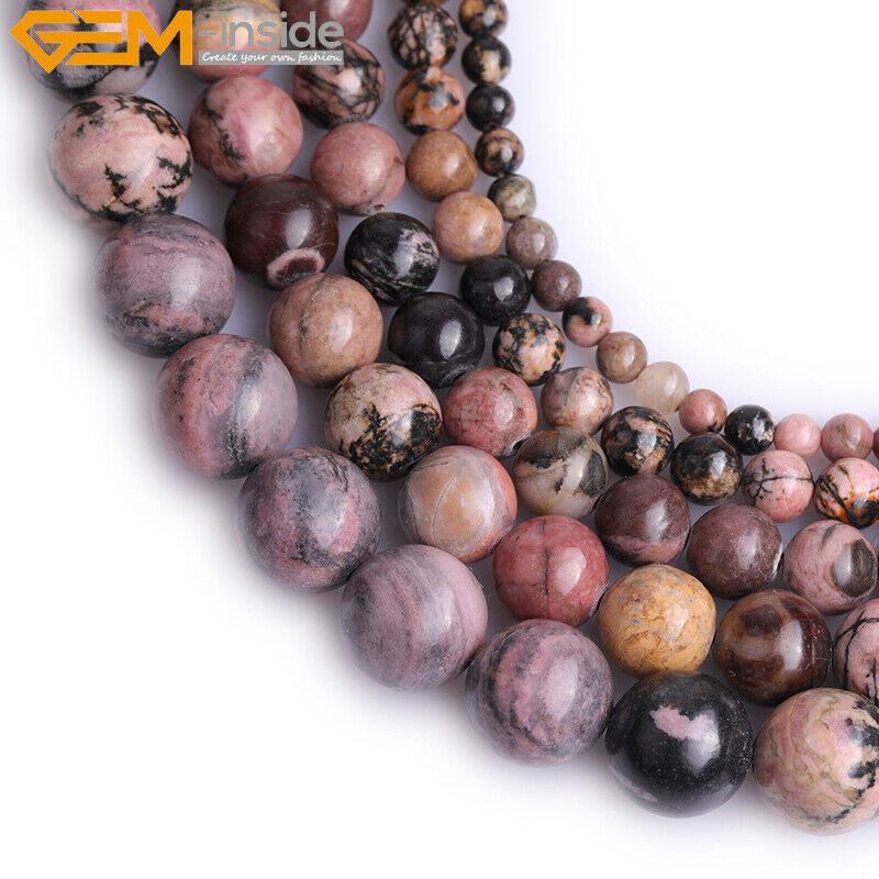 Natural Stone Beads : Natural gemstone rhodonite stone loose beads for jewelry