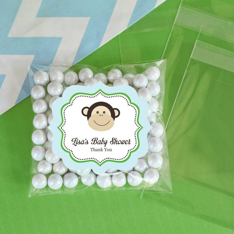 24 Blue Monkey Personalized Clear Candy Bags Baby Shower