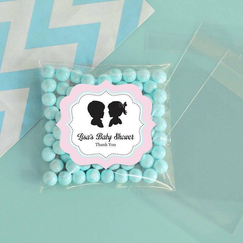 24 Gender Reveal Personalized Clear Candy Bags Baby Shower